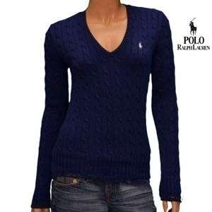 NWT-POLO RALPH LAUREN NAVY CABLE LNG SLV SWEATER